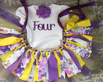 First Birthday Girl Outfit - Rapunzel Little Girl  - Rapunzel Birthday - Disney girl clothing