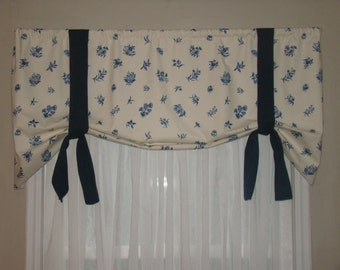 Window Valance, Tie Up Valance, Blue and White/Cream, Flowers, Butterflies, 5th Avenue Designs, Covington