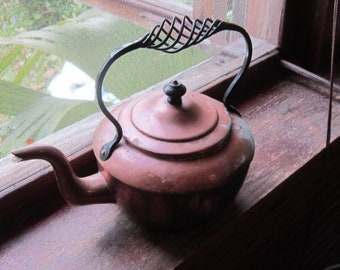 antique copper tea kettle handwrought handle british made lovely
