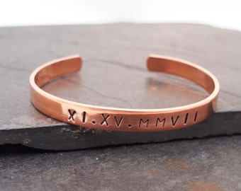 Roman Numeral, Date Bracelet, 7th Anniversary Gift, Copper Cuff, Copper Anniversary, Copper Bracelet, 22nd Anniversary Gift