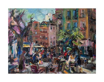 Street Cafe on the Square in Granada - Spanish Cityscape, Original Oil Painting Impressionist Art Cityscapes Abstract Figurative Europe Oils