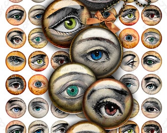 Digital collage sheet EYES images 1 inch circle - for pendants charms bottlecup pins hang tags craft - instant download - tn295