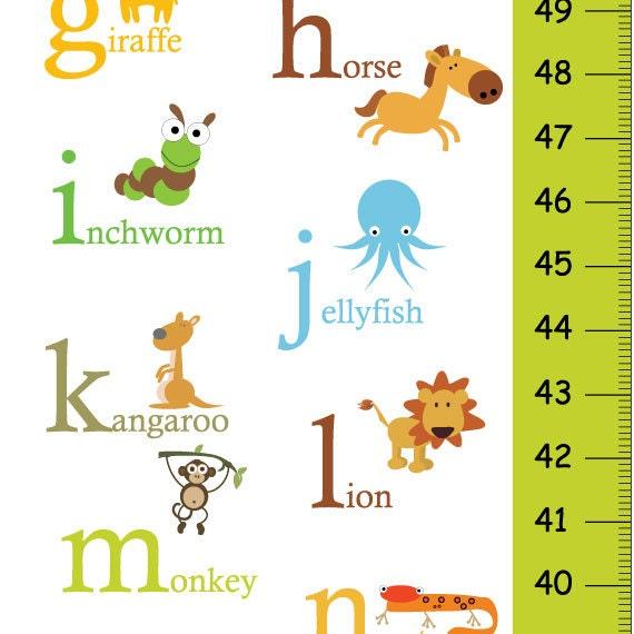 Alphabet Animals Children Growth Chart In Green Abc