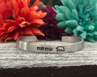 MAMA BEAR BRACELET - Gifts for Mom - Mom Jewelry - Mother's Day - Mom Gifts - New Mom - Hand Stamped Silver Cuff Bracelet - Mama Jewelry