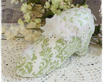 Marie Antoinette Shabby Chic Pincushion, Green Shoe Pincushion, Victorian Pincushion