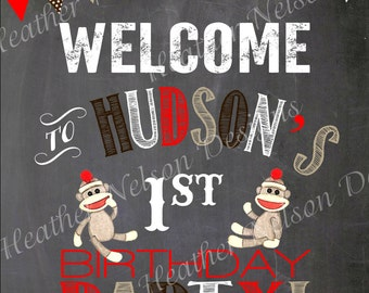 Brown Sock Monkey Birthday Party Digital Chalkboard Welcome Sign