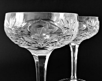 A Set of 2 Crystal Champagne Glasses Crystal Coupe Champagne Stemmed Crystal Cocktail Glasses