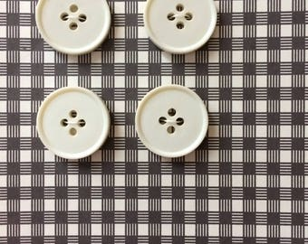 """Vintage 4 White Round Buttons 13/16"""" Plastic"""