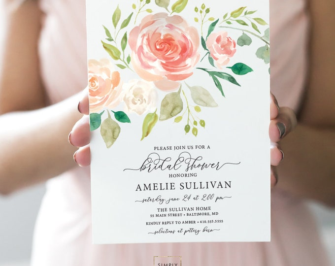 Coral Peach Floral Bridal Shower Invitation - Soft Pink Flowers - Baby Shower - Cream Roses Greenery Invitation Watercolor Printable