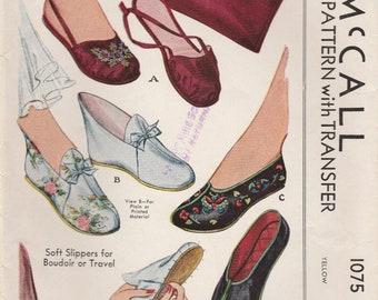 Original 1940s Slipper & Case Pattern McCall 1075 Uncut/Unused