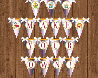 Circus Banner, Circus Birthday Party, Carnival Birthday Banner, Circus 1st Birthday Banner, Instant Download
