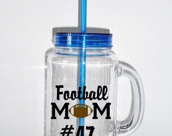 Personalized MasonJar2Go Tumbler, Football Mom Tumbler, Mason Jar, Acrylic