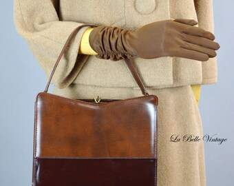 60s Brown Two Tone Purse Vintage Naturalizer Handbag