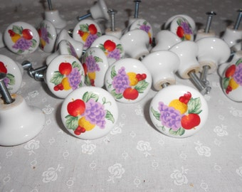 4 vintage Ceramic Knobs Drawer Pulls