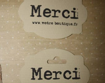 """10 """"Merci"""" tags personalized with the name of your shop or email address"""