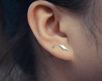 Lightning Bolt Sterling Silver Earring Studs