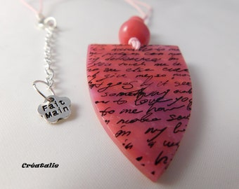 Pink polymer clay pendant necklace 55 cm adjustable
