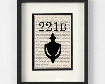 Sherlock Holmes, 221B Baker Street, over Vintage Sherlock Holmes Book Page