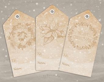 "Digital Christmas Gift Tags ""Sepia Christmas Tags"" clip art clipart instant download printable holiday xmas sepia gift tags hang tags"