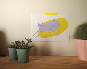 Purple and yellow cat A5 art print - Cat print - I like cats - Cat illustration - Cat art - Purple cat - Minimalist cat - cat gift - cats