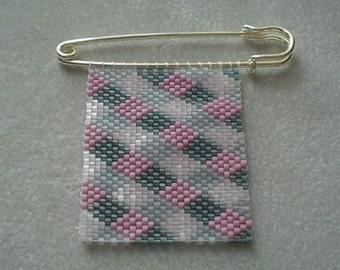 Diamond Peyote-stitched Beaded Pin