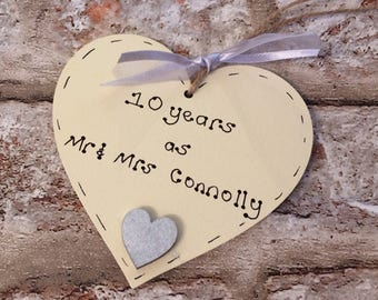 Personalised 10th wedding anniversary gift handmade present for 10th anniversary