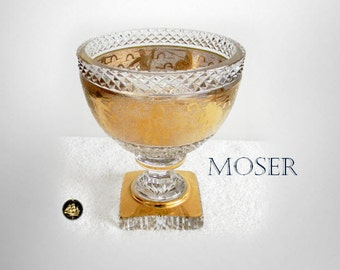 Moser vintage HEAVY art glass vase gold band decorations - etch marked