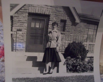 Vintage Black and White Photograph Lady in front of Brick House 50's fashion