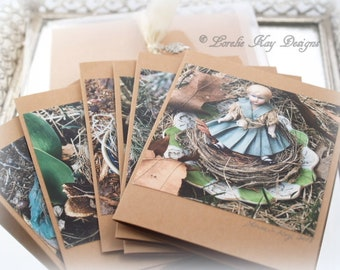 Babes In The Woods Cards Boxed Set 6 Cards Original Art Photography Prints Antique Doll Photos Pictures Notecard Set