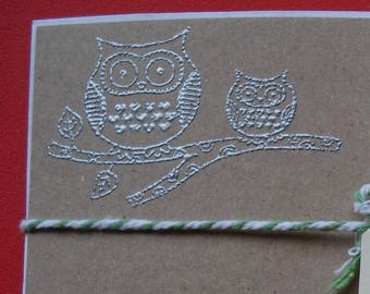 Handmade Notelet Set ~ Owl and Owlet ~ 6 Postcards and Envelopes ~ Great Gift - Personalise It!