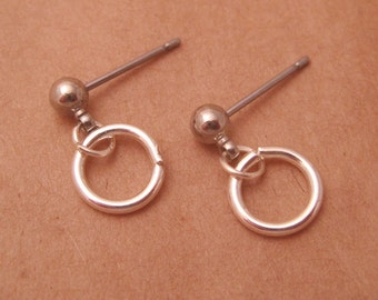 "Surgical Steel Post Earrings - ""Single Small Hoop"" (Hypoallergenic Earrings for Sensitive Ears // Surgical Steel Stud Earrings)"
