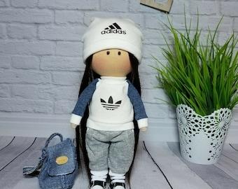 Adidas originals Adidas dress Adidas logo Adidas doll Fashion doll Handmade doll Adidas sport Interior Doll Soft doll Rag doll Fabric doll