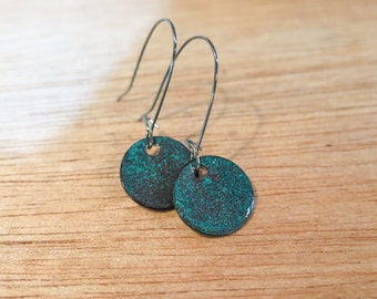 Teal and Red Enameled Glass Earrings
