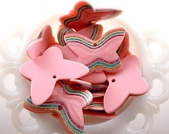 Resin Charms - 45mm Big Pink Butterfly Resin Glitter Pendants - 5 pc set