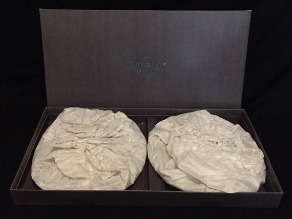 "Free Shipping-Set Of Two-New In Box-Waterford-Crystal-Lismore-8""-Salad Plates-Made In Ireland-Master Blower-John Moloney"