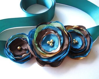 Bridal sash belt with handmade fabric flowers, silk fabric flowers, flower belt, blue wedding accessory, satin sash- PEACOCK THEME WEDDING