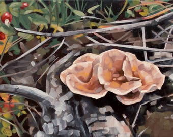 "Original Oil Painting, Landscape of Wild Mushrooms on the Forest Floor, Contemporary Botanical Art - ""Common Funnels"""