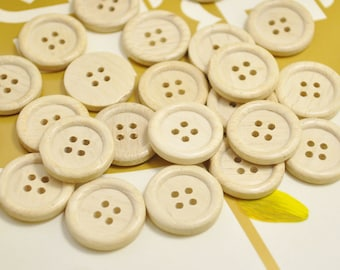 20mm Round Wood Buttons Pack of 50pcs Natural unfinished Wooden Buttons.