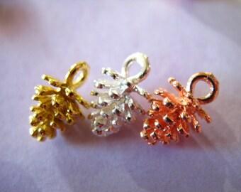 PINECONE Charms Pendants Pine Cones, 5 pcs Bulk, 12x8 mm, Silver, Gold , Rose Gold, Antique Brass, nature organic winter wedding