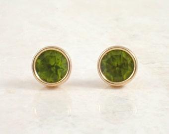14K Yellow Gold Peridot Earrings, Stud Earrings, Vintage Earrings, Estate Jewelry, August Birthstone, Bezel Set