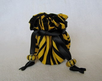 Drawstring Travel Pouch - Mini Size - Fabric Jewelry Tote - Bag for Jewelry - ZEBRA ZING