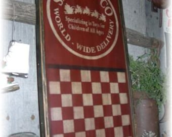 Santa & Company Gameboard, Checkerboard, Wood Wall Sign, Primitive, Christmas