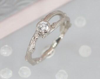 Diamond Twig Engagement Ring-Woodland Engagement Ring-Diamond Branch Ring-White Gold Twig Ring-Gold Twig Ring-Nature Engagement Ring