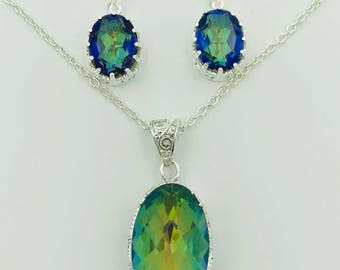 Mystic Rainbow Topaz Pendant & Earrings, Strength and Protection.