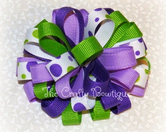 Purple Polka Dot ~ Purple ~ Loopy ~ Purple & Green ~ Green ~ Headband ~ Small ~ Baby ~ Toddler ~ Dark Purple ~ French Clip ~ Apple Green