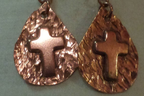 Copper Cross on hammered pick earrings