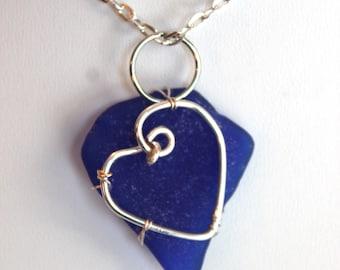 Blue Sea Glass Silver Heart Necklace Beach Glass Pendant Valentine Love