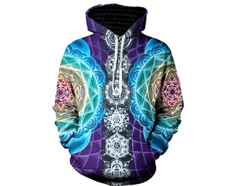 Attuned Visionary Artwork Festival Pullover Hoodie - Colorful Geometric Art Hoody - Festival Apparel - Abbey Aura