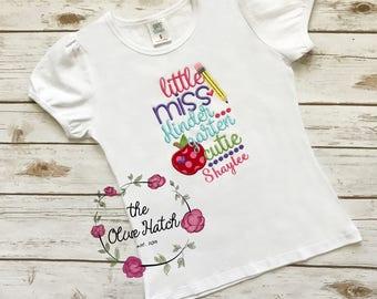 Little Miss Kindergarten Cutie Shirt - Applique - Embroidery