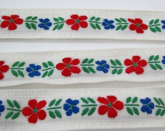 "Vintage Ribbon, Floral Ribbon, Jacquard Ribbon, Daisy Ribbon, Vintage Sewing Trim, Tyrolean Trim, Scandinavian Trim, 7/8"" wide, 3 Yards"
